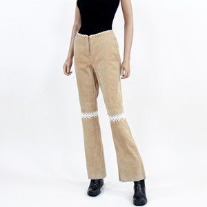 Vintage Wilsons Leather beige leather crochet pant
